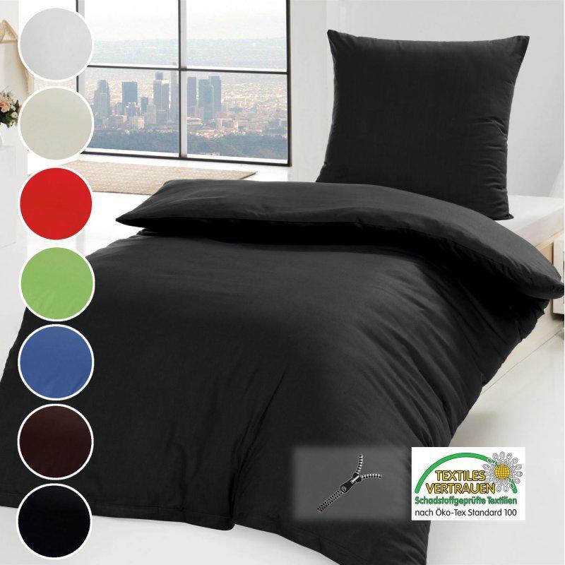 baumwoll bettw sche 2 teilig renforc uni 135x200 cm 80x80. Black Bedroom Furniture Sets. Home Design Ideas