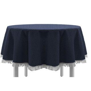 Gartentischdecke mit Fransen 110x140 cm eckig blau