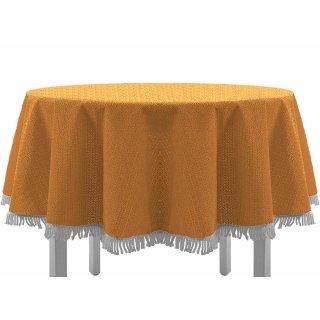 Gartentischdecke mit Fransen 160 cm rund orange